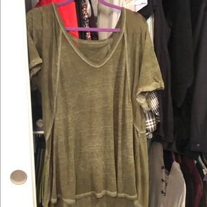 Free People Green V neck